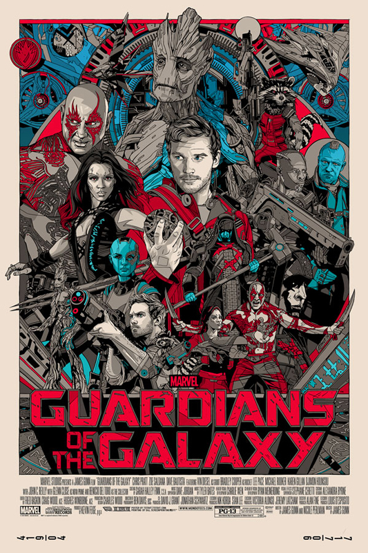 「ガーディアンズ・オブ・ザ・ギャラクシー」レギュラー Guardians of the Galaxy (Regular) Poster by Tyler Stout 24″ x 36″ Edition of 750 $60