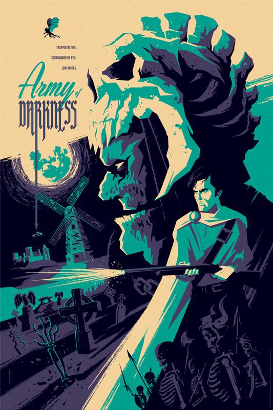 """「死霊のはらわたIII キャプテン・スーパーマーケット」 ARMY OF DARKNESS Regular Poster by Tom Whalen.  24""""x36"""" screen print. Hand numbered.  Edition of 275.  Printed by D&L Screenprinting.  US$45"""