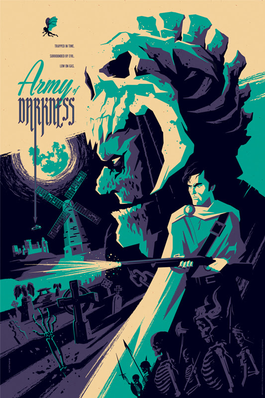 "「死霊のはらわたIII キャプテン・スーパーマーケット」 ARMY OF DARKNESS Regular Poster by Tom Whalen.  24""x36"" screen print. Hand numbered.  Edition of 275.  Printed by D&L Screenprinting.  US$45"