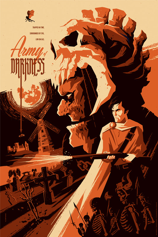 "「死霊のはらわたIII キャプテン・スーパーマーケット」 ARMY OF DARKNESS Variant Poster by Tom Whalen.  24""x36"" screen print. Hand numbered.  Edition of 125.  Printed by D&L Screenprinting.  US$65"