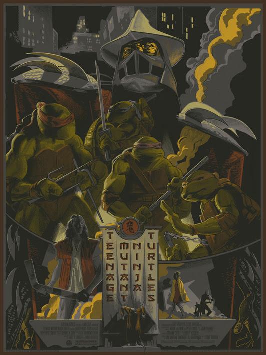 """「ティーンエイジ・ミュータント・ニンジャ・タートルズ」 Teenage Mutant Ninja Turtles Poster by Rich Kelly.  18""""x24"""" screen print.  Hand numbered. Edition of 300.  Printed by D&L Screenprinting.  US$45"""