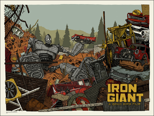 "「アイアン・ジャイアント」 Iron Giant Poster by Landland.  24""x18"" screen print. Hand numbered. Edition of 200.  Printed by Landland.  US$40"