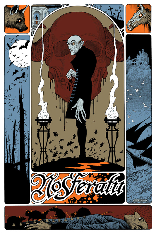 "「吸血鬼ノスフェラトゥ」 Nosferatu Poster by William Stout.  24""x36"" screen print. Hand numbered.  Edition of 275.  Printed by D&L Screenprinting.  US"