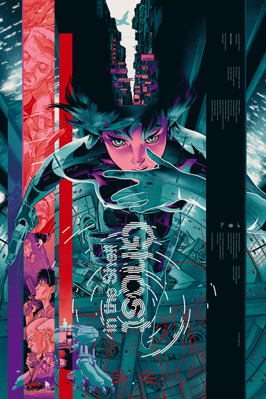 "「攻殻機動隊」レギュラー Ghost in the Shell Regular Poster by Martin Ansin.  24""x36"" screen print. Hand numbered. Edition of 325.  Printed by D&L Screenprinting.  US$50"