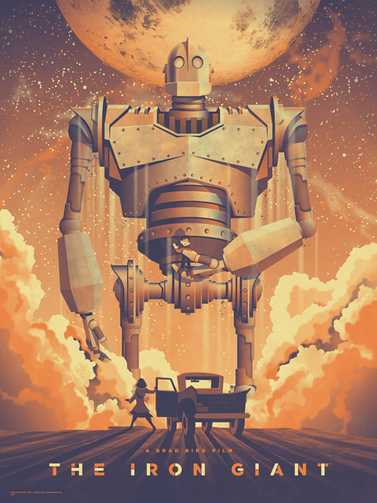 "「アイアン・ジャイアント」 THE IRON GIANT Poster by DKNG.  18""x24"" screen print. Hand numbered. Edition of 260.  Printed by DKNG.  US$40"