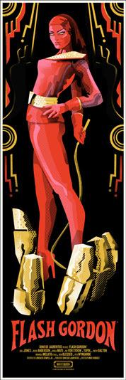 """「フラッシュ・ゴードン」 Flash Gordon Poster by We Buy Your Kids.  12""""x36"""" screen print. Hand numbered.  Edition of 125. Printed by D&L Screenprinting.  US"""