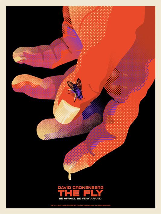 """「ザ・フライ」 The Fly ver.A Poster by We Buy Your Kids.  18""""x24"""" screen print. Hand numbered. Edition of 100. Printed by D&L Screenprinting.  US$40"""