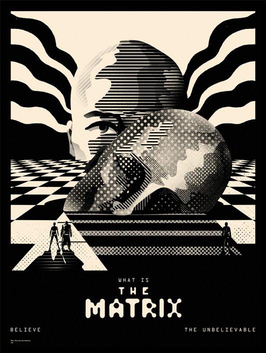 """「マトリックス」 The Matrix Poster by We Buy Your Kids.  18""""x24"""" screen print. Hand numbered. Edition of 110. Printed by D&L Screenprinting.  US$40"""