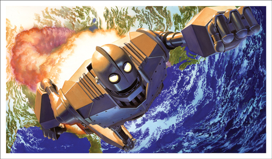 "「アイアン・ジャイアント」 THE IRON GIANT Poster by Alex Ross.  27""x15"" screen print. Hand numbered. Edition of 325.  Printed by Static Medium.  US$85"
