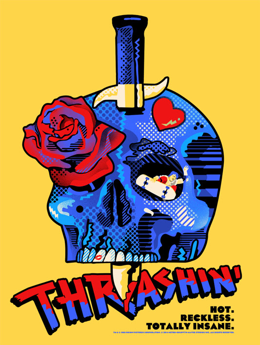 "Thrashin' Poster by We Buy Your Kids.  18""x24"" screen print. Hand numbered. Edition of 75.  Printed by D&L Screenprinting.  US$40"