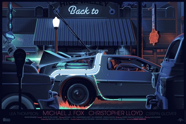 "「バック・トゥ・ザ・フューチャー」 Back to the Future By Laurent Durieux 36.5""x24.5"" screen print. Hand numbered.  Edition of 575.  Printed by Seizure Palace Screen Printing."