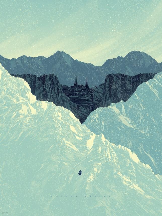"""「バットマン ビギンズ」 Batman Begins  by Kevin Tong.  18""""x24"""" screen print.  Hand Numbered.  Edition of 275.  Printed by D&L Screenprinting.  US$45"""