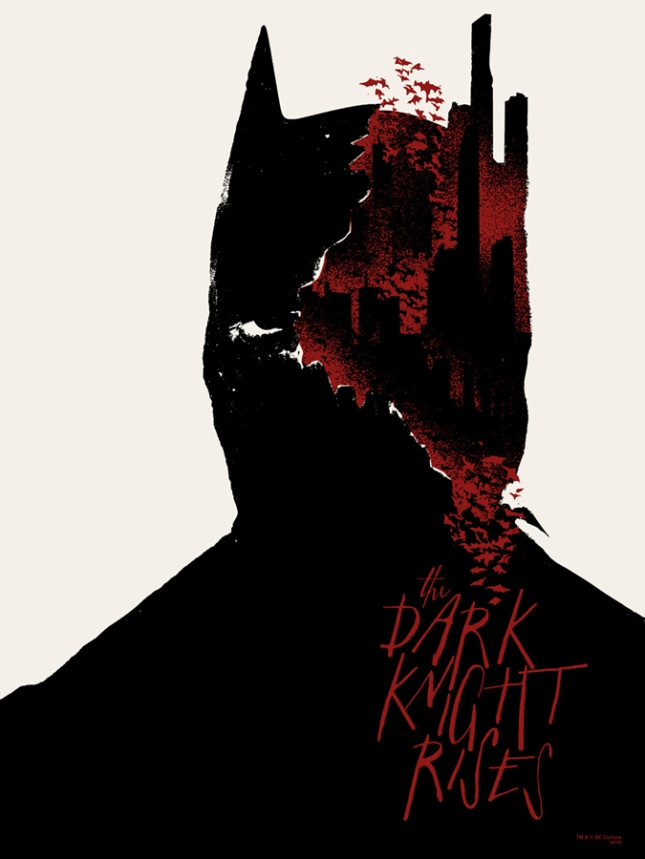 "「ダークナイト ライジング」 The Dark Knight Rises  by Jay Shaw.  18""x24"" screen print. Hand Numbered.  Edition of 100. Printed by Seizure Palace.  US$40"