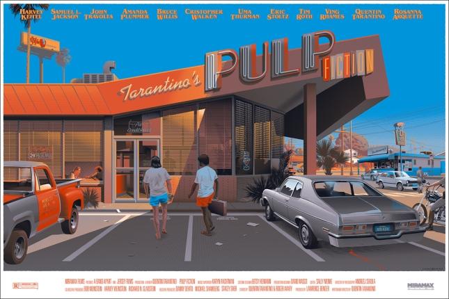"""「パルプ・フィクション」 Pulp Fiction  by Laurent Durieux.  24""""x36"""" screen print. Hand numbered. Timed edition available until 11:59pm on Monday, Dec. 1st.  Printed by D&L Screenprinting.  US"""