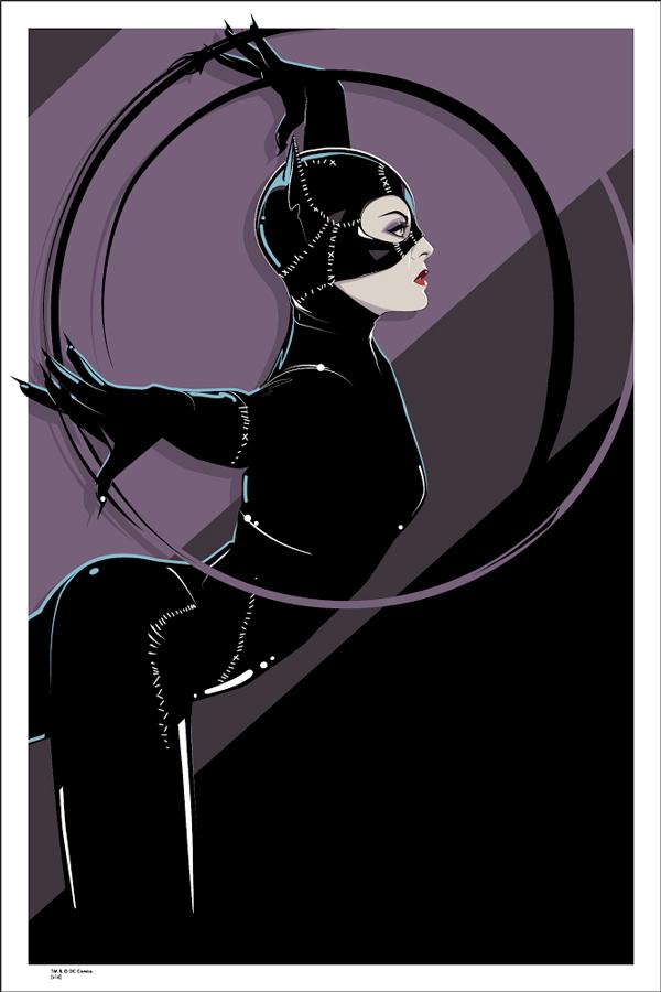"""「キャットウーマン」 Catwoman  by Craig Drake.  24""""x36"""" screen print. Hand Numbered.  Edition of 175.  Printed by D&L Screenprinting.  US$50"""