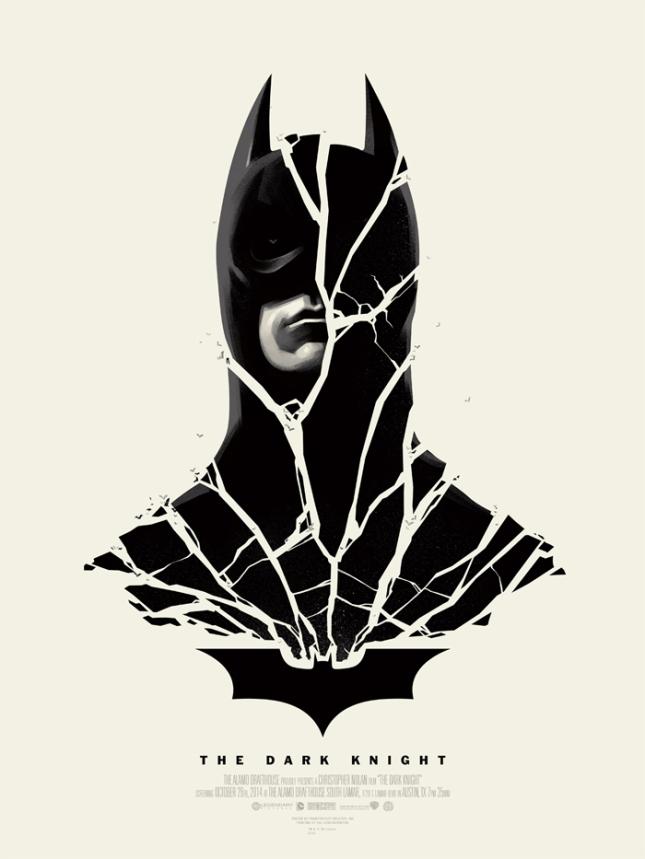 """「ダークナイト」 The Dark Knight  by Phantom City Creative.  18""""x24"""" screen print. Hand Numbered. Edition of 235.  Printed by Seizure Palace.  US$45"""