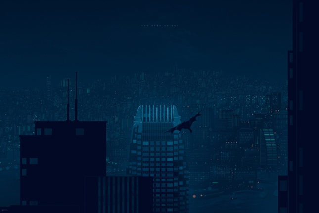 """「ダークナイト -香港-」レギュラー The Dark Knight - Hong Kong  Edition by Kevin Tong.  24""""x36"""" screen print. Hand Numbered. Edition of 225.  Printed by D&L Screenprinting.  US$45"""