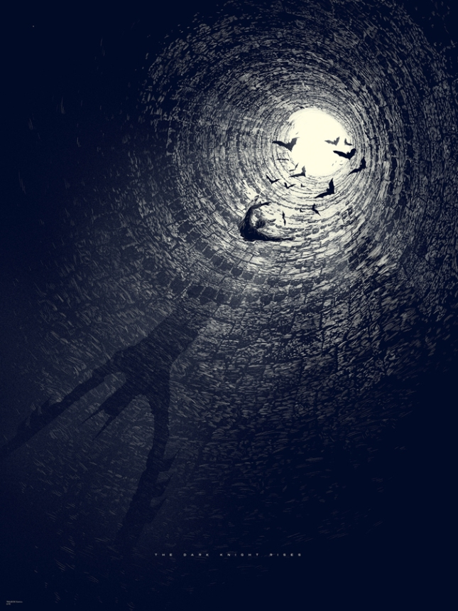 """「ダークナイト ライジング」レギュラー The Dark Knight Rises Regular by Kevin Tong.  18""""x24"""" screen print. Hand Numbered. Edition of 275.  Printed by D&L Screenprinting.  US$45"""
