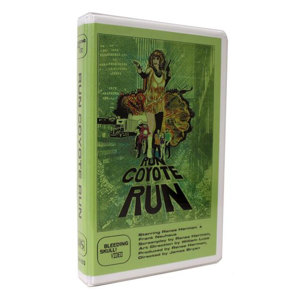 「ラン コヨーテ ラン」VHS Run Coyote Run VHS Released by Mondo Video and Bleeding Skull! Video.  Available on Black Cassette. Includes Minimum Underdrive No. 3 Zine and mini-poster by Jimmy Giegerich. Directed by James Bryan.  1987 / Color / 72 minutes.  US
