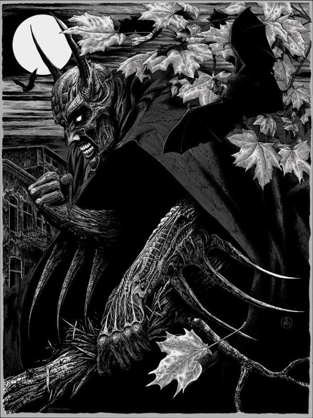 """「バットマン」 Batman  by Brandon Holt.  18""""x24"""" screen print. Hand numbered. Edition of 275.  Printed by Burlesque of North America. $45"""