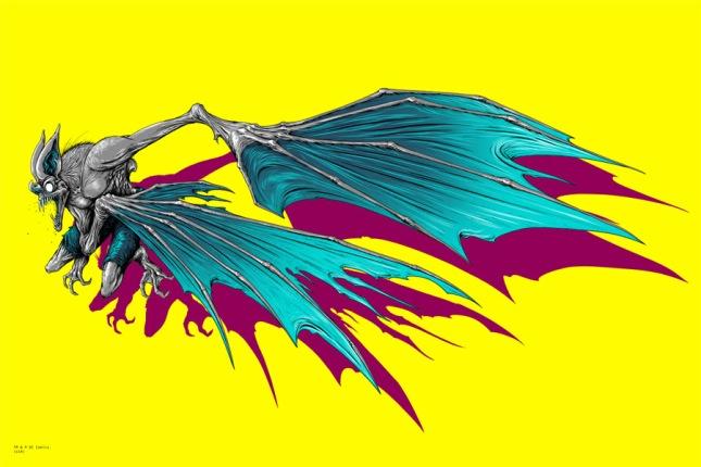"""「バットマン/マンバット(セット)」 Batman / Man Bat  by Alex Pardee.  24""""x36"""" screen print. Hand Numbered. Edition of 200.  Printed by D&L Screenprinting.  US$80 / set"""