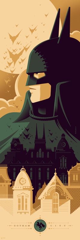 "「バットマン:ゴッサム・バイ・ガスライト」 Gotham by Gaslight  by Tom Whalen. 12""x36"" screen print. Hand Numbered.  Edition of 250.  Printed by D&L Screenprinting.  US$45"