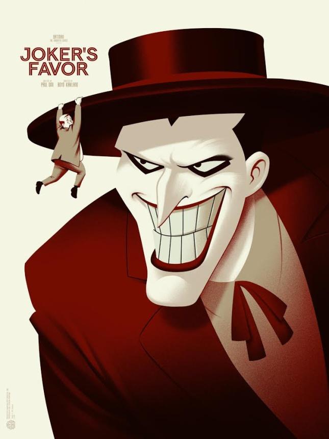 """「ジョーカーの陰謀」バリアント Joker's Favor Variant by Phantom City Creative.  18""""x24"""" screen print. Hand Numbered.  Edition of 100.  Printed by D&L Screenprinting.  US$65"""