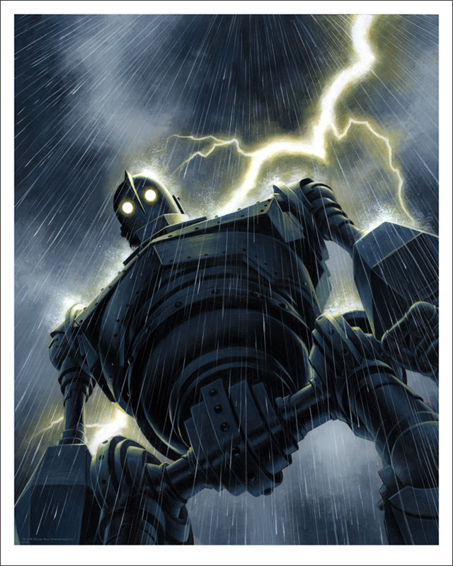 "「アイアン・ジャイアント(雨)」 The Iron Giant (Rain)  by Jason Edmiston.  16""x20"" giclee. Hand numbered. Edition of 170.  Printed by Static Medium.  US"