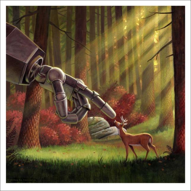 """「アイアン・ジャイアント(鹿)」 The Iron Giant (Deer)  by Jason Edmiston.  12""""x12"""" giclee. Hand numbered. Edition of 150.  Printed by Static Medium.  US$50"""