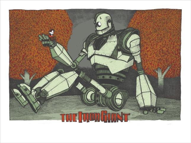 """「アイアン・ジャイアント」 The Iron Giant  by Jay Ryan.  24""""x36"""" screen print.  Signed & numbered by Jay Ryan. Edition of 150.  Printed by The Bird Machine.  US$40"""