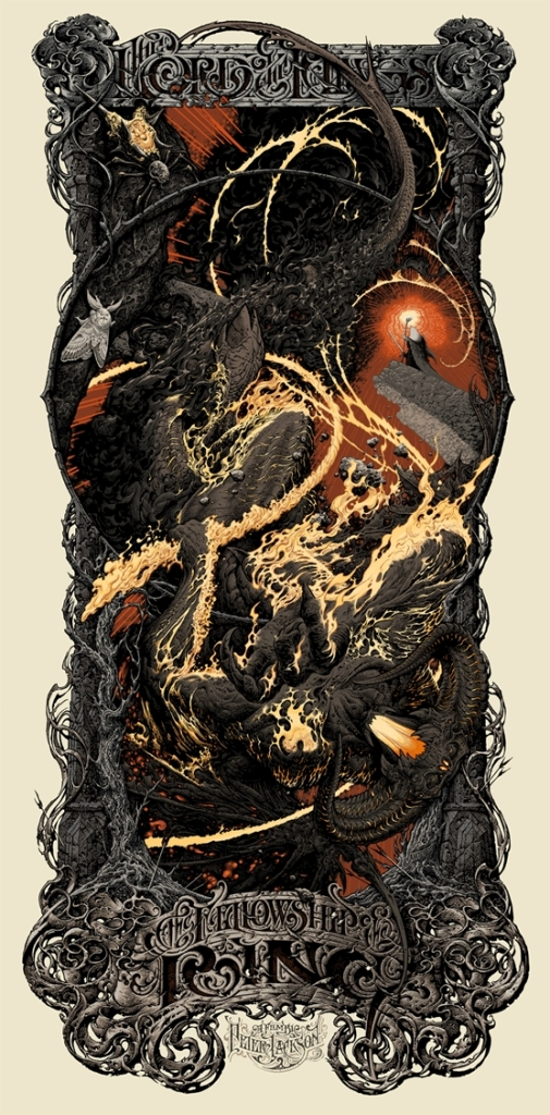 "「ロード・オブ・ザ・リング 旅の仲間」レギュラー The Lord of the Rings: The Fellowship of the Ring  by Aaron Horkey.  19.25""x39"" screen print.  Hand numbered & Signed. Edition of 606.  Printed by Burlesque of North America. US$100"
