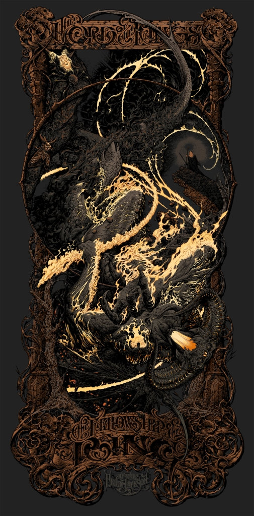 "「ロード・オブ・ザ・リング 旅の仲間」バリアント The Lord of the Rings: The Fellowship of the Ring (Variant)  by Aaron Horkey.  19.25""x39"" screen print.  Hand numbered & Signed. Edition of 361.  Printed by Burlesque of North America.  US$200"