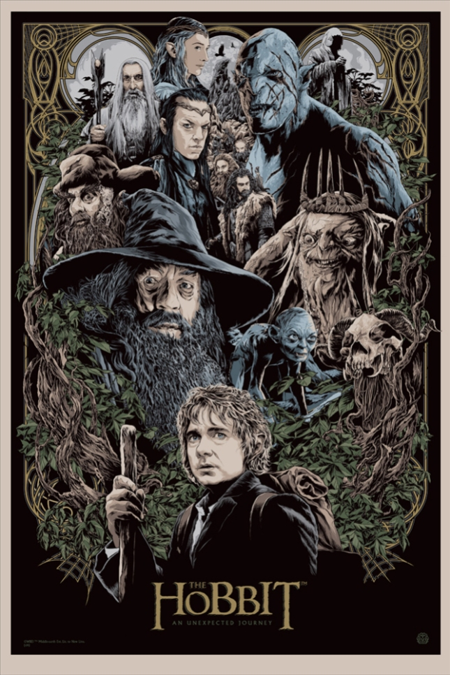 """「ホビット 思いがけない冒険」 The Hobbit: An Unexpected Journey  by Ken Taylor.  24""""x36"""" screen print.  Hand numbered. Edition of 325.  Printed by D&L Screenprinting.  US$50"""