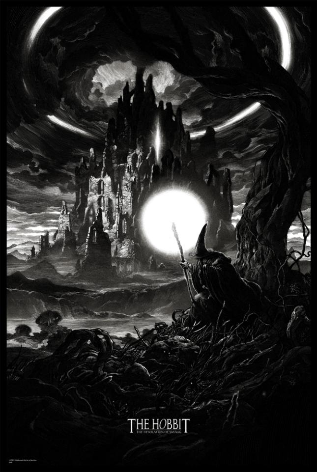 """「ホビット 竜に奪われた王国」レギュラー The Hobbit: The Desolation of Smaug by Nicolas Delort.  24""""x36"""" screen print.  Hand numbered. Edition of 300.  Printed by D&L Screenprinting.  US$45"""