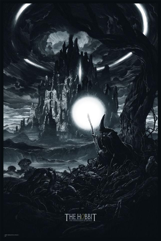 """「ホビット 竜に奪われた王国」バリアント The Hobbit: The Desolation of Smaug (Variant)  by Nicolas Delort.  24""""x36"""" screen print.  Hand numbered. Edition of 125.  Printed by D&L Screenprinting.  US$65"""