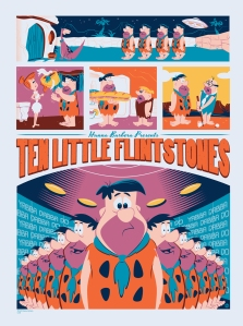 "「原始家族フリントストーン:テン リトル フリントストーン」 Ten Little Flintstones  by Dave Perillo.  18""x24"" screen print. Hand numbered. Edition of 175.  Printed by D&L Screenprinting.  US$40"