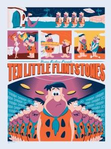 """「原始家族フリントストーン:テン リトル フリントストーン」 Ten Little Flintstones  by Dave Perillo.  18""""x24"""" screen print. Hand numbered. Edition of 175.  Printed by D&L Screenprinting.  US$40"""