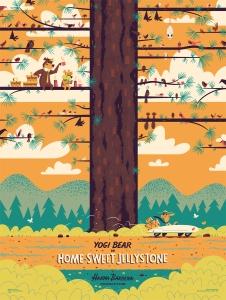 """「ヨギ・ベア(クマゴロー):ホーム スィート ジェリーストーン」 Yogi Bear: Home-Sweet Jellystone  by Andrew Kolb.  18""""x24"""" screen print. Hand numbered. Edition of 175.  Printed by D&L Screenprinting.  US$40"""