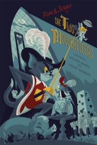 """「トムとジェリー:パーティ荒し」 Tom & Jerry: The Two Mousketeers  by Anne Benjamin.  24""""x36"""" screen print. Hand numbered. Edition of 225.  Printed by D&L Screenprinting.  US$45"""