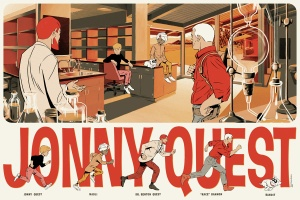 "「科学少年J.Q」 Jonny Quest  by Matthew Woodson.  36""x24"" screen print. Hand numbered. Edition of 225.  Printed by D&L Screenprinting.  US$45"