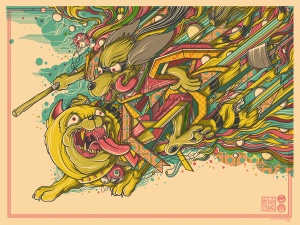 """Hong Kong Phooey  by Drew Millward.  24""""x18"""" screen print. Hand numbered. Edition of 200.  Printed by D&L Screenprinting.  US$40"""