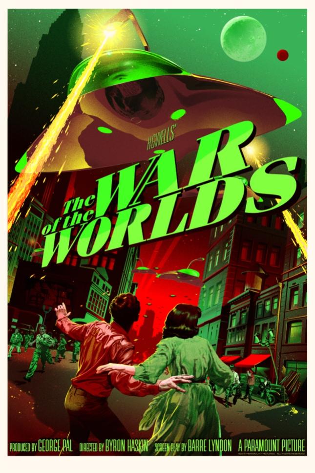 """「宇宙戦争」バリアント The War of the Worlds (Variant)  by Stan & Vince.  24"""" x 36"""" screen print featuring glow-in-the-dark layer.  Hand numbered. Edition of 150.  Printed by D&L Screenprinting.  US$85"""