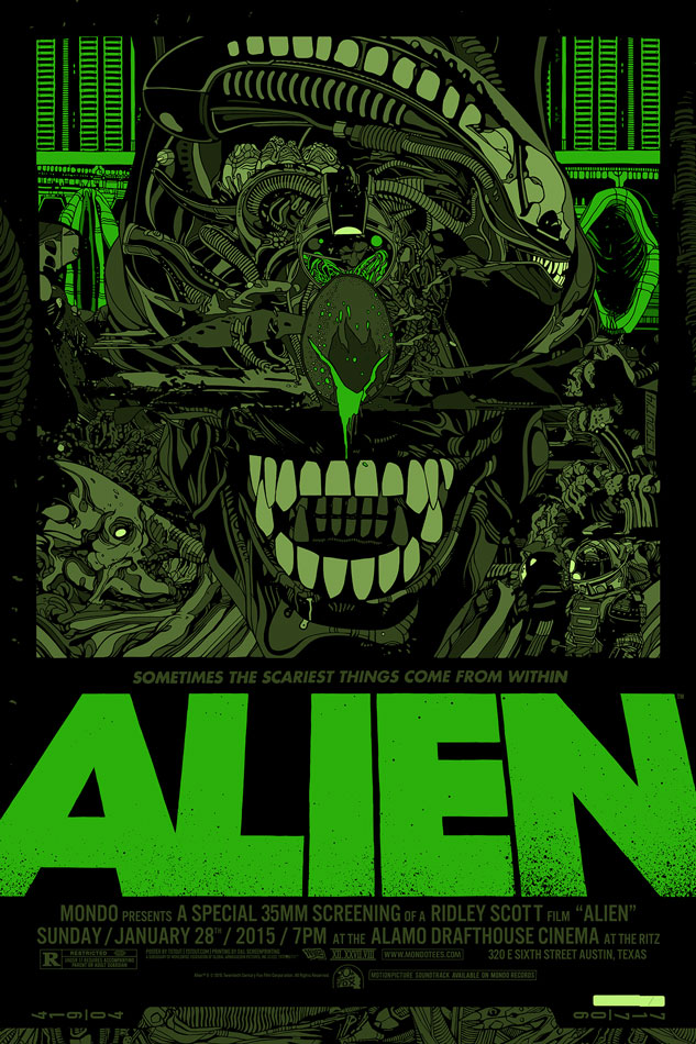 "「エイリアン」バリアント Alien Variant by Tyler Stout.  24""x36"" screen print. Hand numbered. Edition of 235.  Printed by D&L Screenprinting.  US$110"