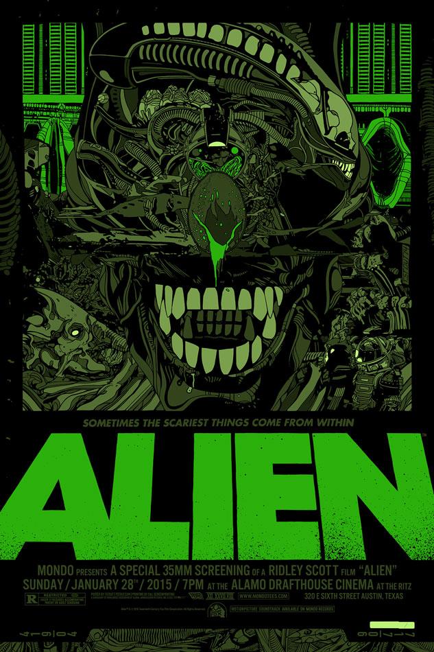 """「エイリアン」バリアント Alien Variant by Tyler Stout.  24""""x36"""" screen print. Hand numbered. Edition of 235.  Printed by D&L Screenprinting.  US$110"""