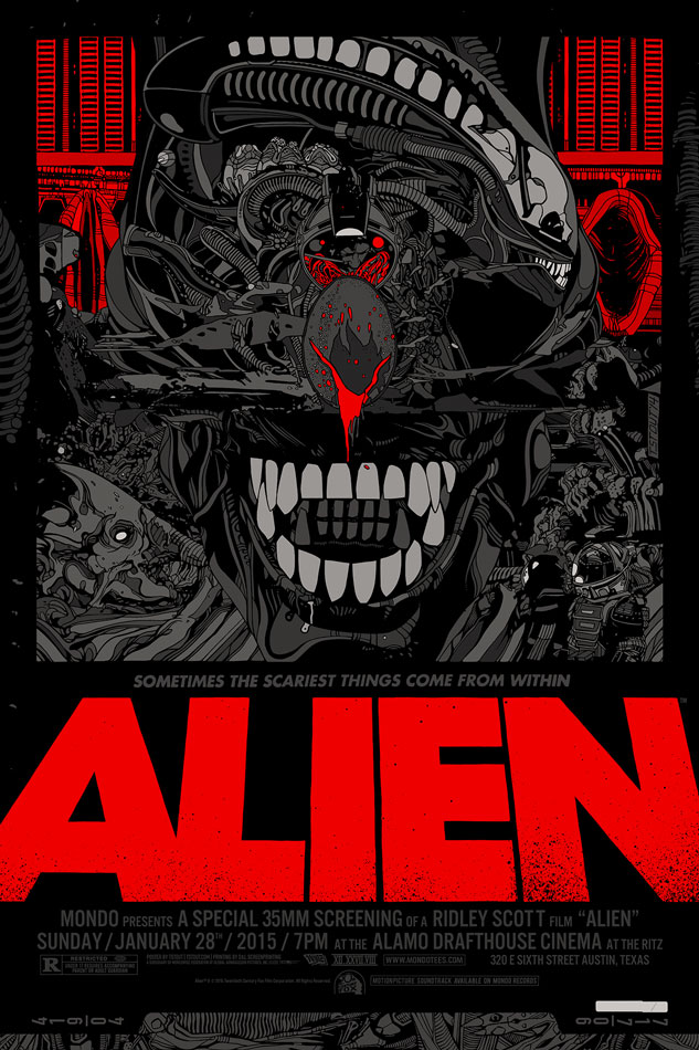 "「エイリアン」レギュラー Alien Regular by Tyler Stout.  24""x36"" screen print. Hand numbered. Edition of 510.  Printed by D&L Screenprinting.  US$60"
