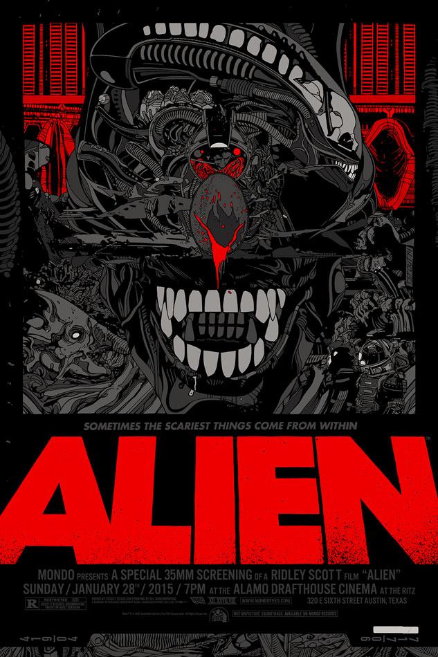 """「エイリアン」レギュラー Alien Regular by Tyler Stout.  24""""x36"""" screen print. Hand numbered. Edition of 510.  Printed by D&L Screenprinting.  US$60"""