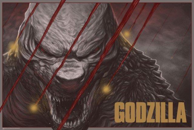 """「ゴジラ(2014)」バリアント Godzilla (Variant) by Randy Ortiz. 24""""x36"""" screen print. Hand numbered. Edition of 150. Printed by D&L Screenprinting.  US$65"""
