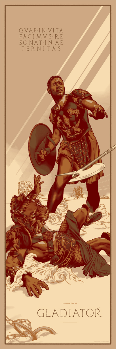 "「グラディエーター」バリアント Gladiator (Variant)  by Martin Ansin.  12""x36"" screen print.  Hand numbered. Edition of 150.  Printed by D&L Screenprinting.  US$65"