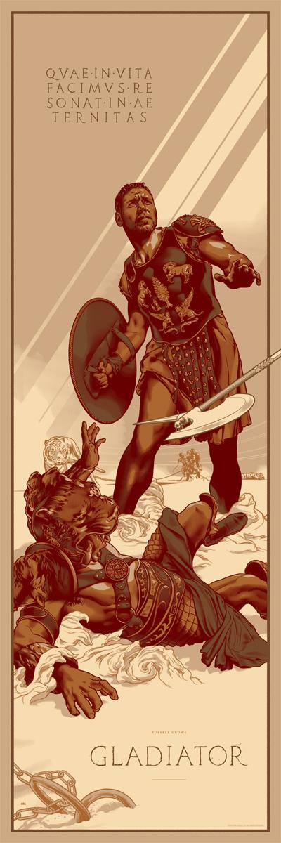 """「グラディエーター」バリアント Gladiator (Variant)  by Martin Ansin.  12""""x36"""" screen print.  Hand numbered. Edition of 150.  Printed by D&L Screenprinting.  US$65"""