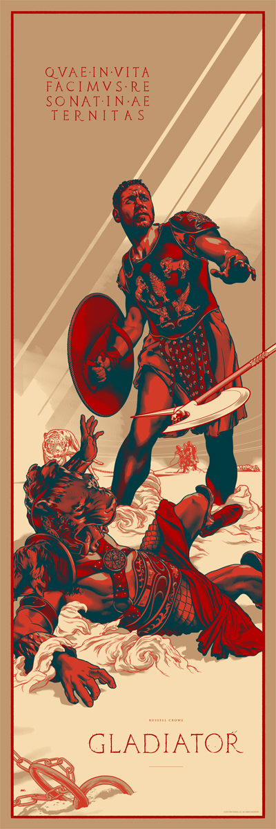 "「グラディエーター」レギュラー Gladiator  by Martin Ansin.  12""x36"" screen print.  Hand numbered. Edition of 300.  Printed by D&L Screenprinting.  US$45"